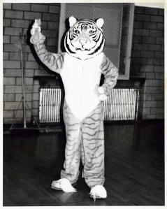 This picture shows the early mascot for Cincinnati Technical College, which was a Tiger.  At that time, the team colors were blue and gold.