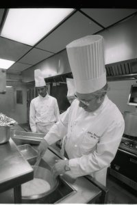 Business Technologies: Food Service Management and Food Service were also added in 1968. Then, in 2004, the Ohio Board of Regents approved a bachelor's degree culinary program partnered by Cincinnati State and the University of Cincinnati. Pictured: Master Chef John Kinsella, instructor in the chef-technology program, Midwest Culinary Institute, circa 1990s.