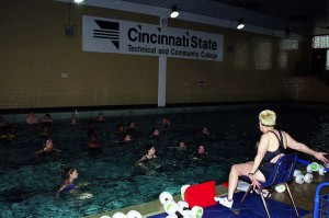 Pat Morganroth teaching an aquatics class in 2001