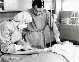 Surgical Technology student and instructor, date unknown