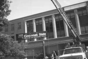 Installing the new sign - 1994