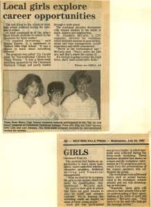 "Western Hills Press, 1987 – Several years later, CTC expanded its reach and hosted a 3-week workshop called ""Up, Up and Away for Non-traditional Careers for Young Women,"" aimed at high school girls. The goal of the workshop was to ""show girls in school that there are good reasons to stay in math and science courses."""