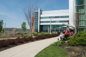 n.d. – The ATLC is inviting both inside—with multiple student lounges replete with fireplaces—and outside—with benches, picnic tables, and even a small outdoor performance space.