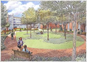 "2004 – This bricklayer's sketch previews the new courtyard and green space that would accompany the ATLC. Administration hoped that making the buildings and grounds more inviting would encourage students to spend more time on campus outside of class, helping to engender a more ""college"" feel."