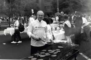 1994 – President Long helps out at the name change picnic. Although there was some hesitation at first, many faculty, students, and staff were excited about the conversion from a technical school to a community college. The change was also estimated to increase enrollment by 10% in the first year, within an additional 1,600 students within three years.
