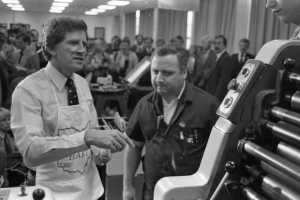 Presidential candidate Gary Hart visited the campus of Cincinnati State (then called Cincinnati Technical College) on May 4, 1984