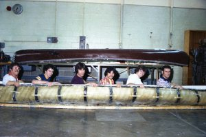 Concrete canoe built by Cincinnati State students (ca. 1979)