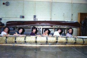 Concrete canoe built by Cincinnati State students (ca. 1979)