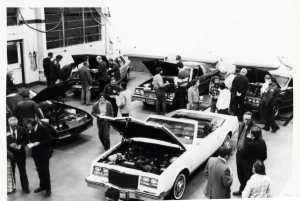 Cars being displayed in the Cincinnati State automotive facility (ca. 1980s)