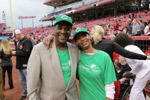 Dr. Posey (Seen here with her husband Rev. Dr. Michael Posey) represents Cincinnati State and throws the first pitch at the Great American Ballpark on May 3, 2016
