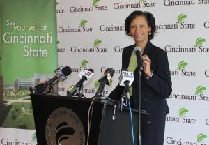Dr. Posey speaks at a June 17, 2016 press conference, her first as Cincinnati State's president.